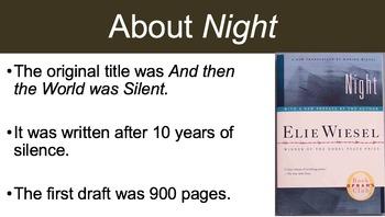 Night Elie Wiesel Novel Study Unit Pre-Reading Lesson