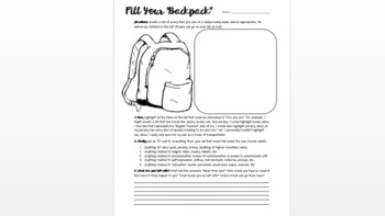 Night: Fill Your Backpack Activity