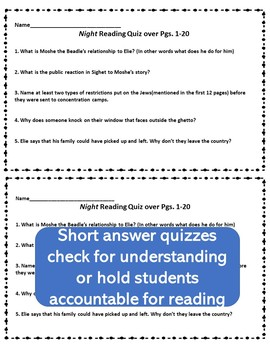 Elie Wiesel's Night Guided Reading Questions and Comprehension Quizzes