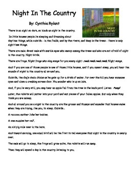Night In The Country by Cynthia Rylant Close Read