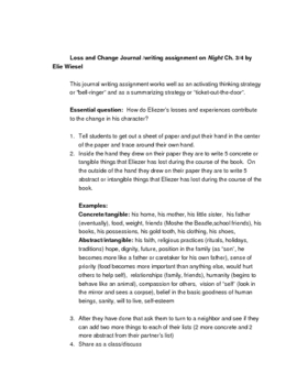 Night Loss and Change journal writing assignment