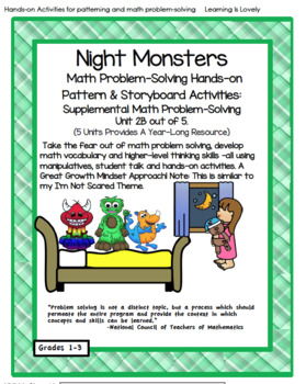 Night Monsters! Hands-on Activities For Math Problem Solving and Making Patterns