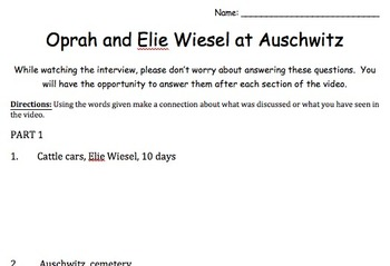 Elie Wiesel Oprah Teaching Resources Teachers Pay Teachers