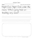 Night Owl Handwriting Printable