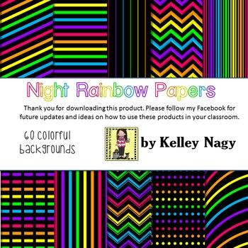 Night Rainbow Digital Papers
