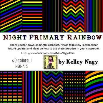 Night Primary Rainbow Digital Papers