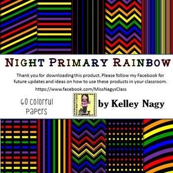 Night Primary Rainbow Digital Papers
