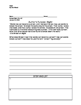 Night Reading Assignment Package