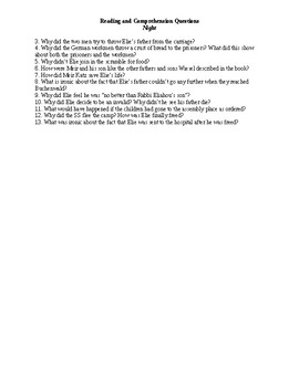 Night Questions for Quizzes or Reading Comprehension