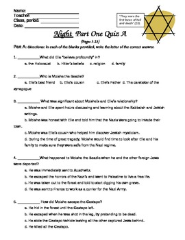 Night Reading Quizzes Part 1-9