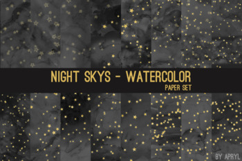 Night Skys Watercolor Space Star Moon 12x12 Digital Paper Texture Background