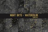 Night Skys Watercolor Space Star Moon 12x12 Digital Paper