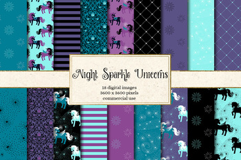 Night Sparke Unicorn Digital Paper, seamless patterns and backgrounds