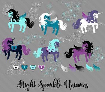 Night Sparkle Unicorn Clip Art - png and vector pegaus and cute unicorns