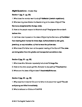 Night Study Guide Questions and Answer Key