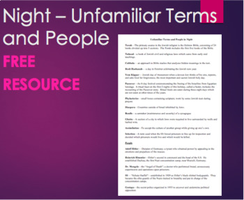 FREE- Night - Unfamiliar Terms and People for Night by Elie Wiesel