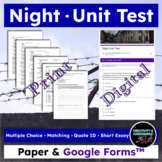 Night (by Elie Wiesel) Unit Test - MC, Quote ID, Matching, Essay