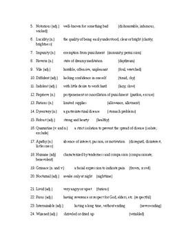 Night Vocabulary Packet