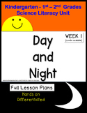 Day and Night Science Unit Lesson Plans Kindergarten First Second Grade week 1
