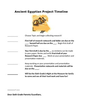 """Night at the Museum"" Ancient Egypt Unit Outline Handout"