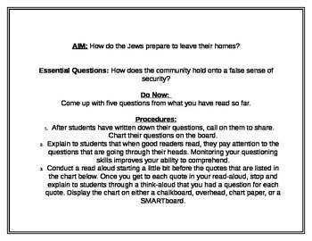 Night by Elie Weisel Questioning Lesson