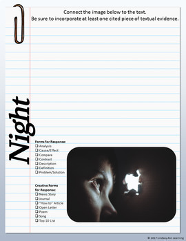 Night by Elie Weisel Writer's Notebook for Middle School Students