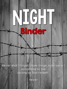 Night by Elie Wiesel: Binder Cover, Spines & Planning Sheets