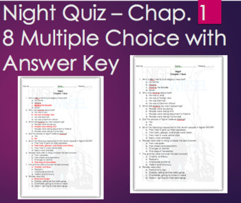Night by Elie Wiesel - Chapter 1 Quiz Multiple Choice with ANSWER KEY