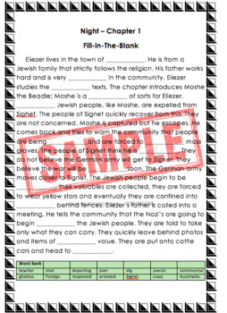 Night by Elie Wiesel Chapter 1 Summary Fill-in-The-Blank Review Practice Quiz