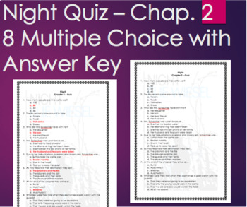 Night by Elie Wiesel - Chapter 2 Quiz Multiple Choice with ANSWER KEY