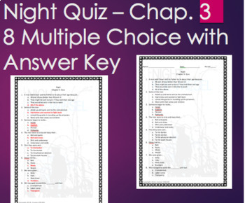 Night by Elie Wiesel - Chapter 3 Quiz Multiple Choice with ANSWER KEY