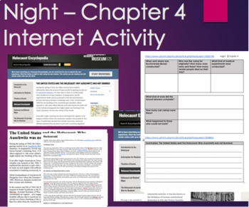 Night by Elie Wiesel - Chapter 4 Internet Activity with Text for no-internet