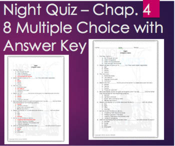 Night by Elie Wiesel - Chapter 4 Quiz Multiple Choice with ANSWER KEY