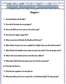 Night by Elie Wiesel Chapter Questions