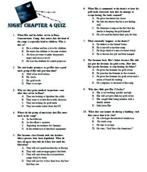 Night by Elie Wiesel Chapter Quizzes