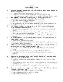 Night by Elie Wiesel Chapters 6-9 Reading Guide and Test