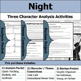 Night by Elie Wiesel - Character Analysis Packet, Theme Connections, & Project
