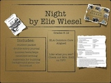 Night by Elie Wiesel BUNDLE (includes packets, quizzes, tests, etc.)