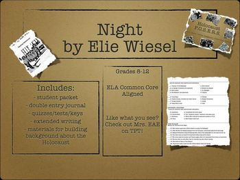 Night by Elie Wiesel BUNDLE (includes packets, quizzes, te