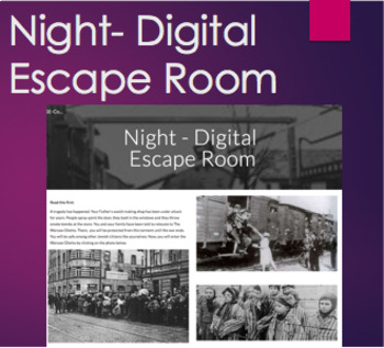 Night by Elie Wiesel Digital Escape Room - Before, During or After Reading