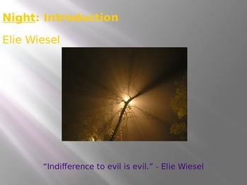 Night by Elie Wiesel  Introduction Activities PPT