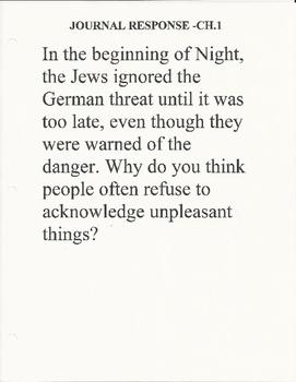 Night by Elie Wiesel Journal Responses