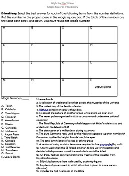 Night by Elie Wiesel Magic Square Vocabulary Activity Pack and Tests