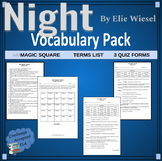 Night by Elie Wiesel Magic Square Vocabulary Activity Pack