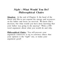 Night by Elie Wiesel Philosophical Chairs Activity