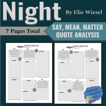 Night by Elie Wiesel QUOTE ANALYSIS