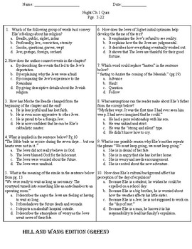 Night  by Elie Wiesel Quiz Pack - EOC Aligned Questions