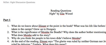 Night by Elie Wiesel Reading Comprehension Questions