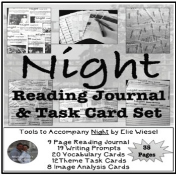 Night by Elie Wiesel Reading Journal and Task Card Activity Set WWII Holocaust