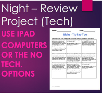 Night by Elie Wiesel - Review Project for iPad/Computer PLUS No Tech Option